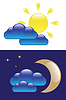 Vector clipart: Day and Night symbols