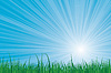 Sunburst sky green grass | Stock Illustration