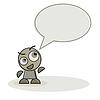 mascot character and speech bubble