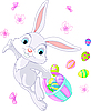 Vector clipart: Easter Bunny Hiding Eggs