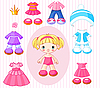 Vector clipart: Girl with clothes