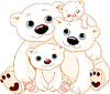 Vector clipart: Big Polar bear family