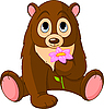 Vector clipart: Cute Bear holding flower