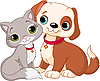 Vector clipart: Cat and dog
