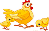 Vector clipart: Hen and chicks