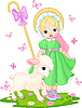 Vector clipart: Little shepherdess with lamb