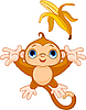 Vector clipart: Funny Monkey catching banana