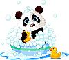 Vector clipart: Panda having bath