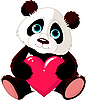 Vector clipart: Cute Panda with heart