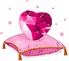 Love heart on the pink pillow