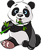 Vector clipart: Panda eating bamboo