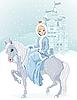 Vector clipart: Princess riding horse at winter
