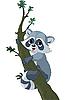 Funny cartoon raccoon on the tree | Stock Vector Graphics