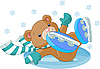 Vector clipart: Cute bear fell to the ice rink