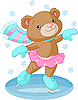 Vector clipart: Cute bear girl on ice skates