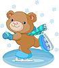 Векторный клипарт: Cute Bear на коньках