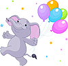 Vector clipart: Elephant with balloons