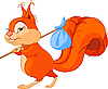 Vector clipart: Squirrel leaves the house