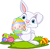 Vector clipart: Easter. Bunny carrying egg