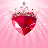 Vector clipart: Crystal heart with crown on radial background