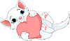 Vector clipart: Valentine kitten