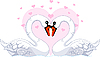 Vector clipart: Swans in love