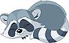 Vector clipart: Funny sleeping cartoon raccoon