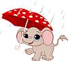 Милая слоненок под зонтиком