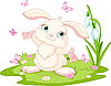 Vector clipart: bunny and butterflies