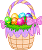 Easter Basket with colorful eggs | Stock Vector Graphics
