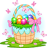 Vector clipart: Easter Basket with colorful eggs