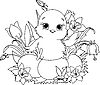 Vector clipart: Happy Easter chick. Coloring page