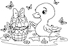 Vector clipart: Easter duckling. Coloring page