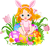 Cute Easter baby girl | Stock Vector Graphics