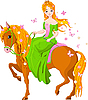 Vector clipart: Princess riding horse. Spring