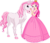 Vector clipart: Beautiful princess and horse