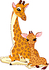 Vector clipart: Mother-giraffe and baby-giraffe
