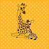 Vector clipart: Mother-giraffe and baby-giraffe place card