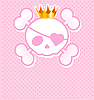 Vector clipart: Pink Skull with crown