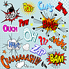 Vector clipart: Comic explosions