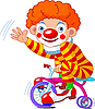 Vector clipart: Clown on three-wheeled bicycle