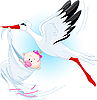 Vector clipart: Stork And Baby