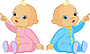 Two Babies pointing | Stock Vector Graphics