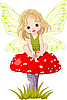 Vector clipart: Baby Fairy on the Mushroom