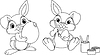 Vector clipart: Easter Bunny coloring page