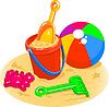 Векторный клипарт: Пляжные игрушки - ведро, лопата, мяч