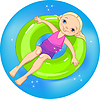 Vector clipart: Girl at the pool