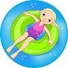 Vektor Cliparts: Mädchen am Pool