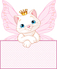 Vector clipart: Princess Cat over blank sign