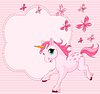 Vector clipart: pink card with baby unicorn